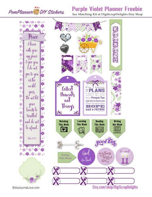 Free Printable Planner Stickers #purple #plannerlove #pomplanner #biblejournaling #Biblemarginstrip