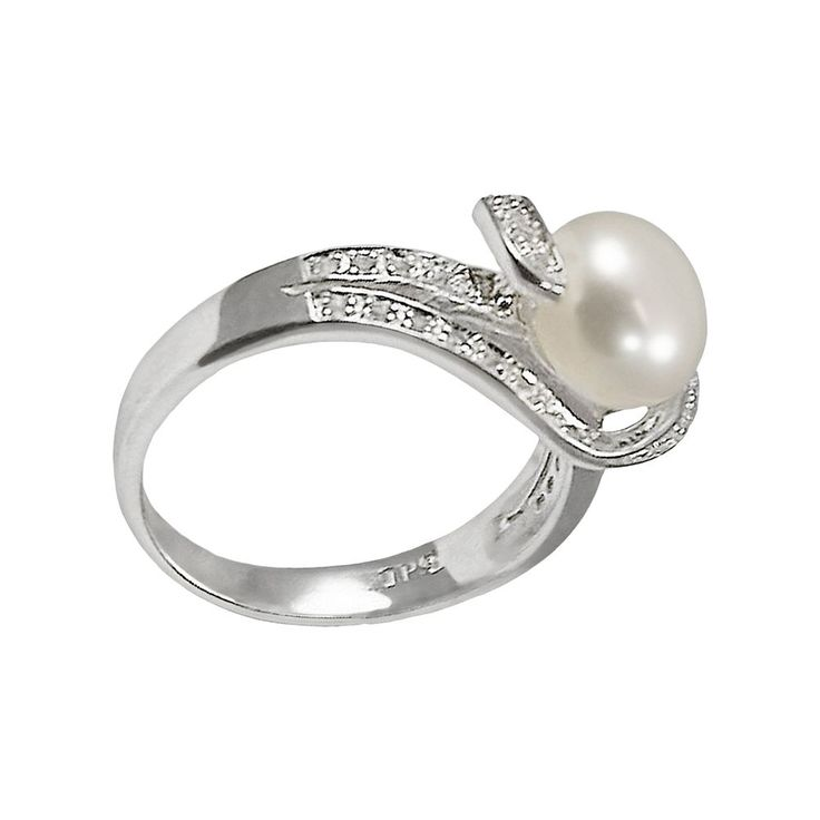 Sterling Silver Freshwater Cultured Pearl and White Topaz Ring, Women's, Size: 7