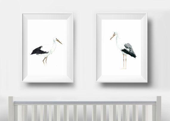 Storks Watercolor White Art Animal Wing Print Elegant Art by LadyWatercolor | Etsy #watercolor #storks #bird #fly #wing #art #set #baby #nursery #painting #blackandwhite #elegant #animals