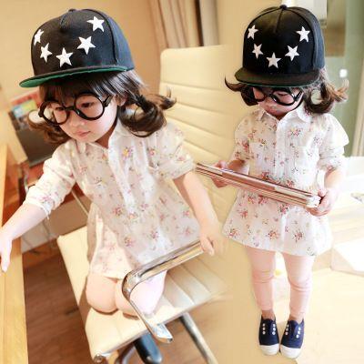 童装女童春秋装新款韩版长袖衬衣宝宝碎花衬衫短款翻领娃娃衫上衣-淘宝网