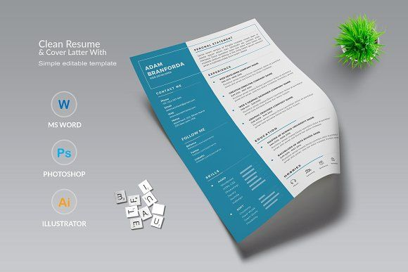 Clean Resume & Cover Latter Word Template. Elegant page designs are easy to use and customize, so you can quickly tailor-make your resume for any opportunity and help you to get your job. @creativework247