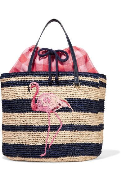 Multicolored straw, navy leather Drawstring fastening at top Designer color: Natural Imported