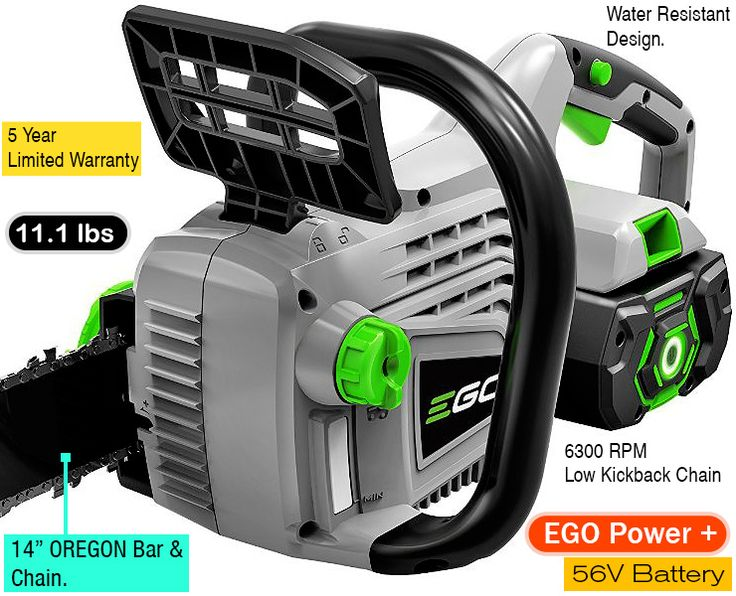 EGO Power+ 14-Inch 56-Volt cordless chainsaw.