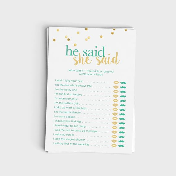 He Said She Said / Guess Who Said It - Mint & Glitter Design - Instant Download - Wedding Shower Game - 5x7 Printable