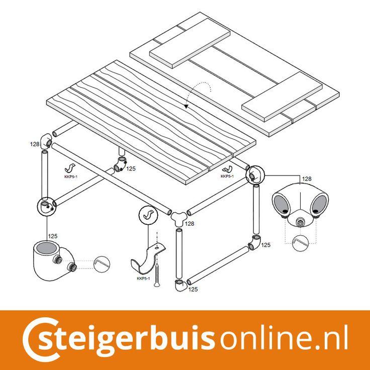 Werktekening (DIY) - Bijzettafel van steigerbuis