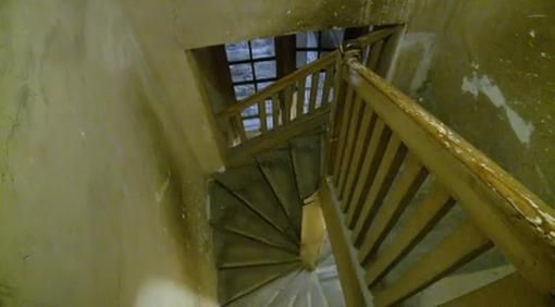 Steep back stairs that servants used.