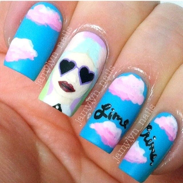 Head in the Lime Crime clouds nail art by jamylyn_nails ! Even a little @kelsey hartley | hora de oro // golden hour Deere is up there!