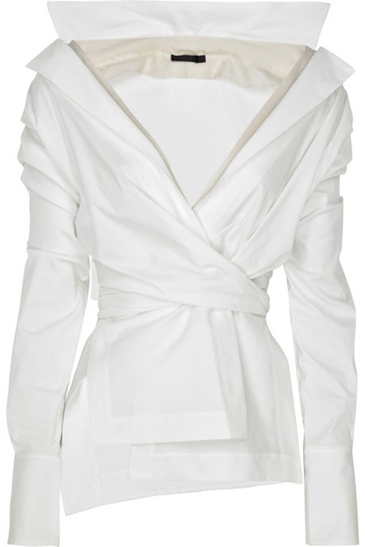 "Modern Wrap Waist  OH THIS IS ME I HAVE ALWAYS HAD AN OBSESSION WITH WHITE BLOUSES---I HAVE HAD AT ONE TIME 55 WHITE BLOUSES, NOW MAYBE 25---I NEEDED HELP, MY FRIENDS TRIED MANY TIMES TO STOP ME FROM BUYING AND WEARING ""WHITE BLOUSES----DIDN'T WORK"