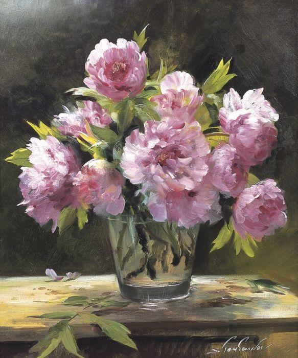 Пионы в стекле репродукция для интерьера картина букет цветов маслом цветы в живописи натюрморт пионы в стеклянной вазе
