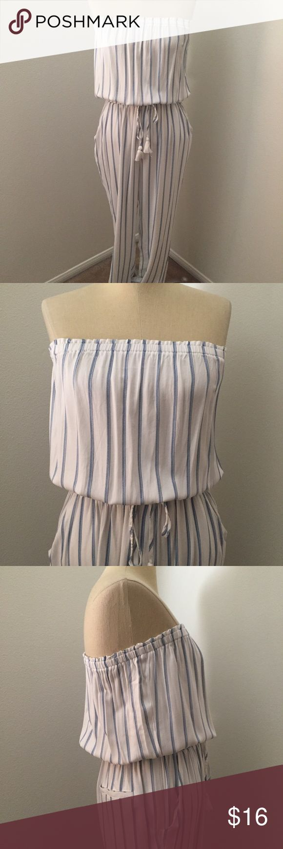 Forever 21 striped jumper Forever 21 white and blue striped jumper. Drawstring waist with tassels, pockets on side and back. Slim leg with elastic band at ankles. Never worn, too big for me. :( Forever 21 Pants Jumpsuits & Rompers
