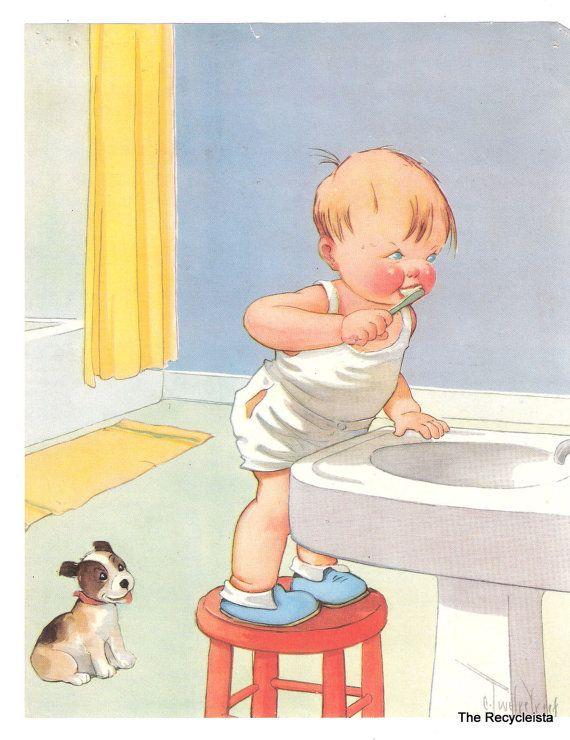 Vintage Health Poster - Charles Twelvetrees - Childrens Illustration - Boy Puppy Brushing Teeth - Good Health Habits