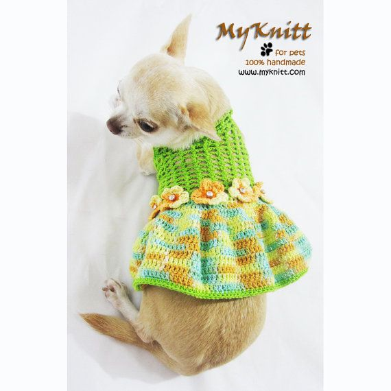 Dog Dresses Handmade Crochet Teacup Chihuahua Dress by myknitt