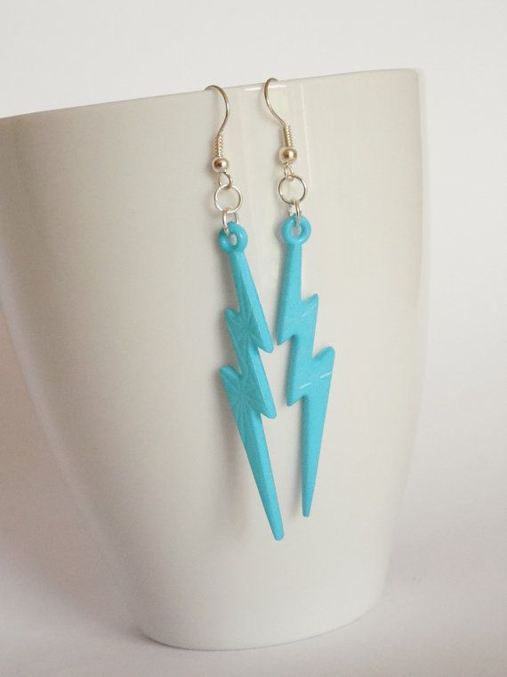 Light Blue lightening bolt earrings by LilRedsBoutique on Etsy, €3.00