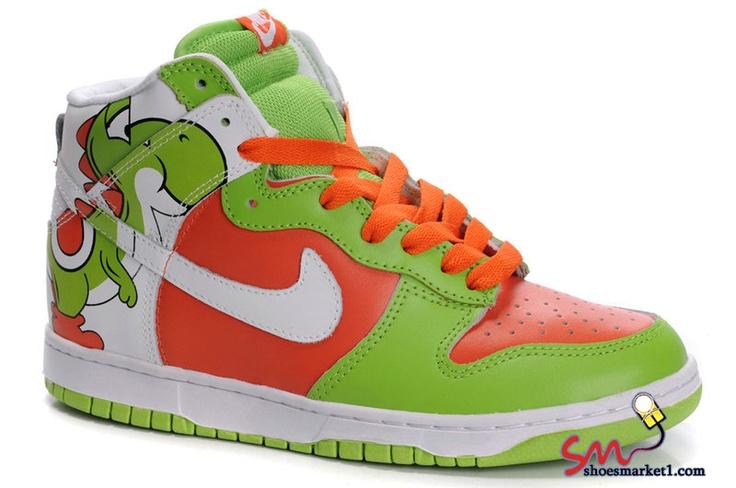 Yoshi!!!: Green Shoes, Nike Dunks, High Tops, Yoshi Nike, Custom Shoes, Nike Shoes, Green Patterns, Super Mario, Dunks High