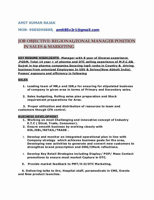 Regional Sales Manager Job Description Lovely Resume For Post Of Regional Zonal Manager Sales Manager Jobs Marketing Resume Manager Resume