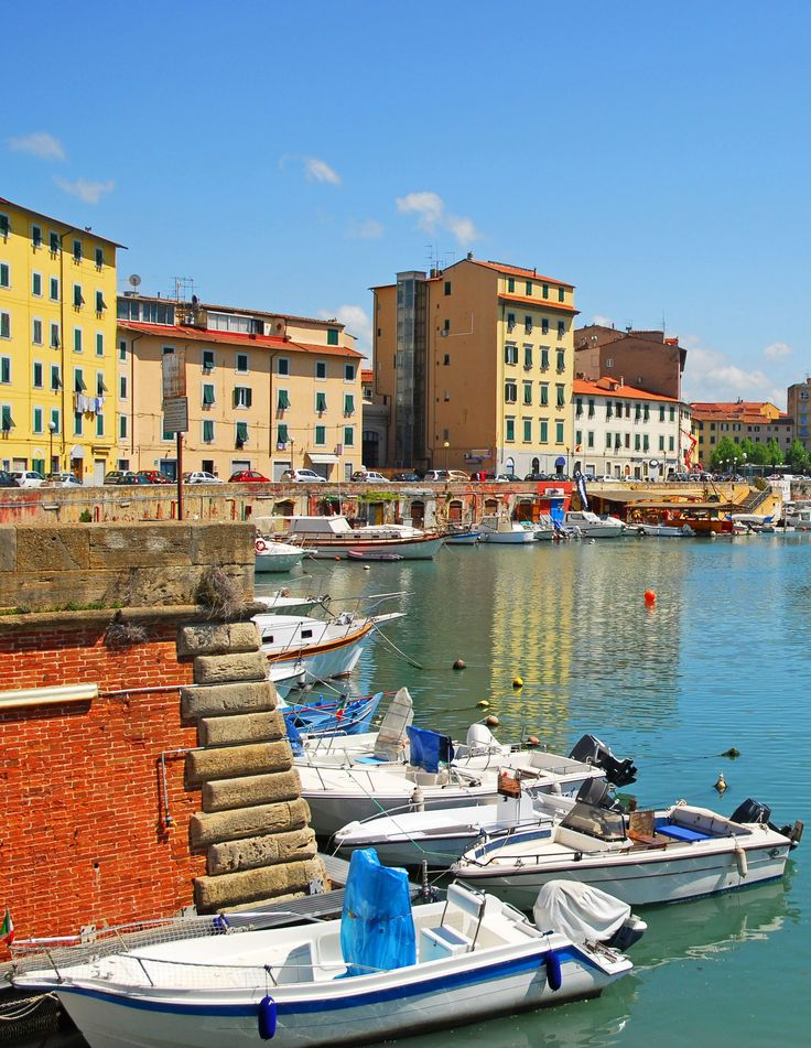 Boats In Venice District, Downtown Livorno, Italy