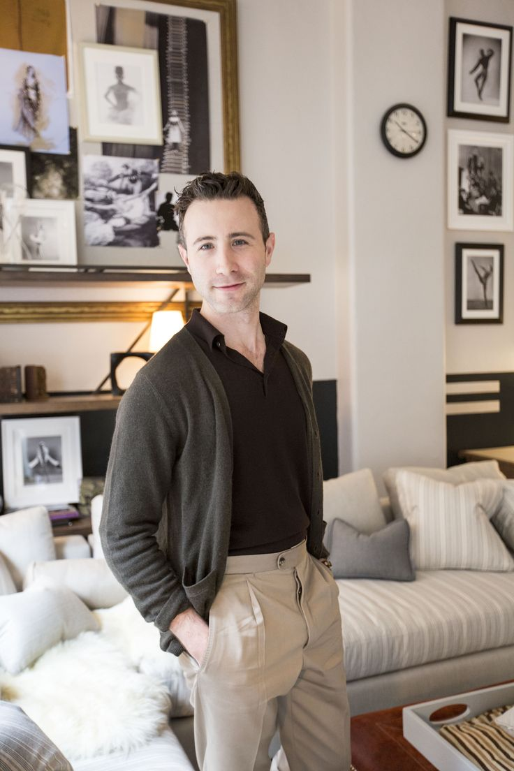 Designer Dan Fink in his newly redesigned dancer's lounge at The American Ballet Theater in New York.