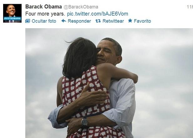 Obama hace historia en las redes sociales con 'Four More years' y una imagen.