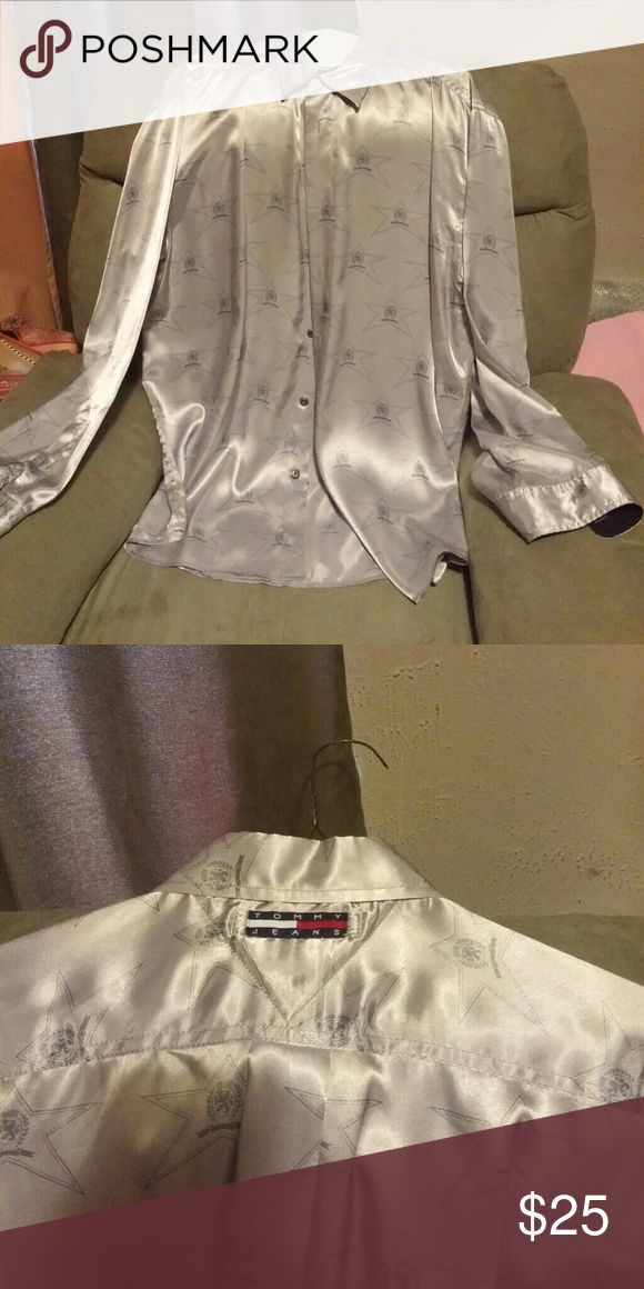 Mens silk Tommy jeans shirt Grey silk shirt good looking and silk fabric. Tommy jeans Skirts