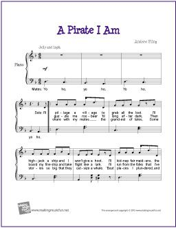 A Pirate I Am | Free Sheet Music for Easy/Level 3 Piano - Super Funny!
