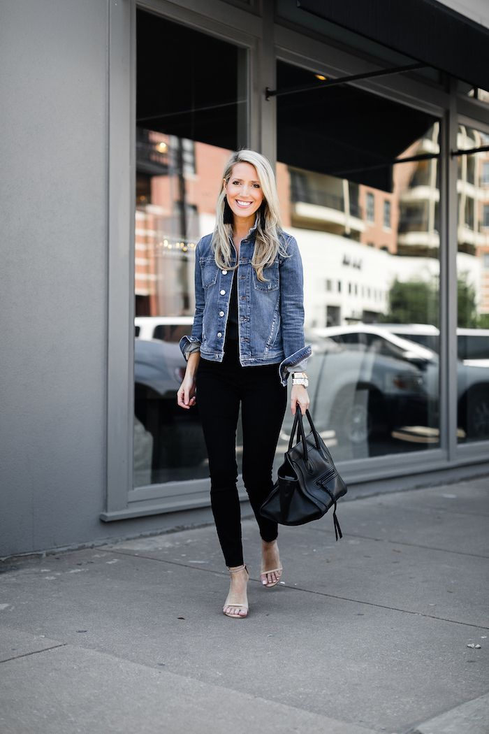 823b4a76f2 Jean jackets - How to style your denim jacket with black jeans for ...