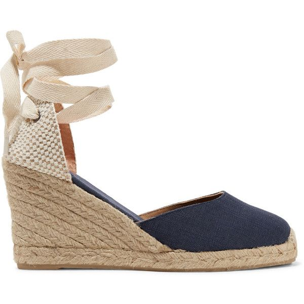 Soludos - Lace-up Canvas Wedge Espadrilles ($48) ❤ liked on Polyvore featuring shoes, sandals, heels, wedges, dark denim, platform wedge sandals, beach sandals, lace up wedge sandals, summer sandals and wedge heel sandals