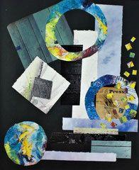 Ich liebe Papiere. Diese in eine Collage einzukleben, macht mir sehr viel Spass. Dabei verwende ich diverse gekaufte, aber auch selber gemachte Papiere. - conny / Aquarelle,Collage,Pastell,Acryl,Mixed Media