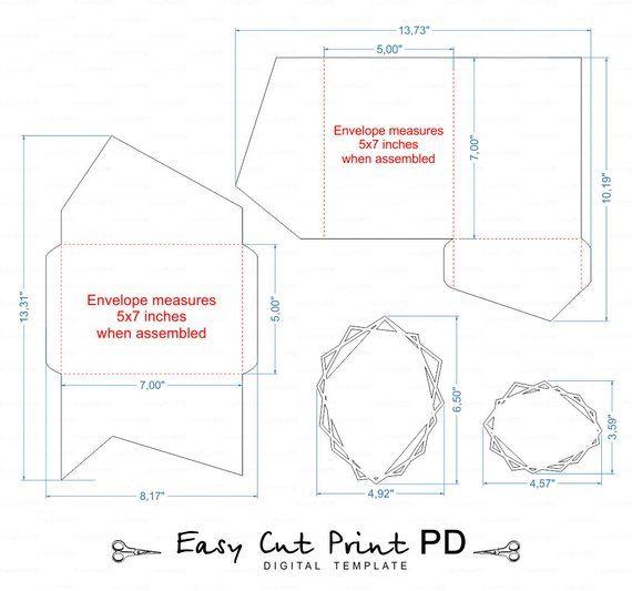 Geometric Set Of Tri Fold Pocket Envelope 5x7 Wedding Etsy Pocket Envelopes Wedding Invitations Rsvp Card Templates