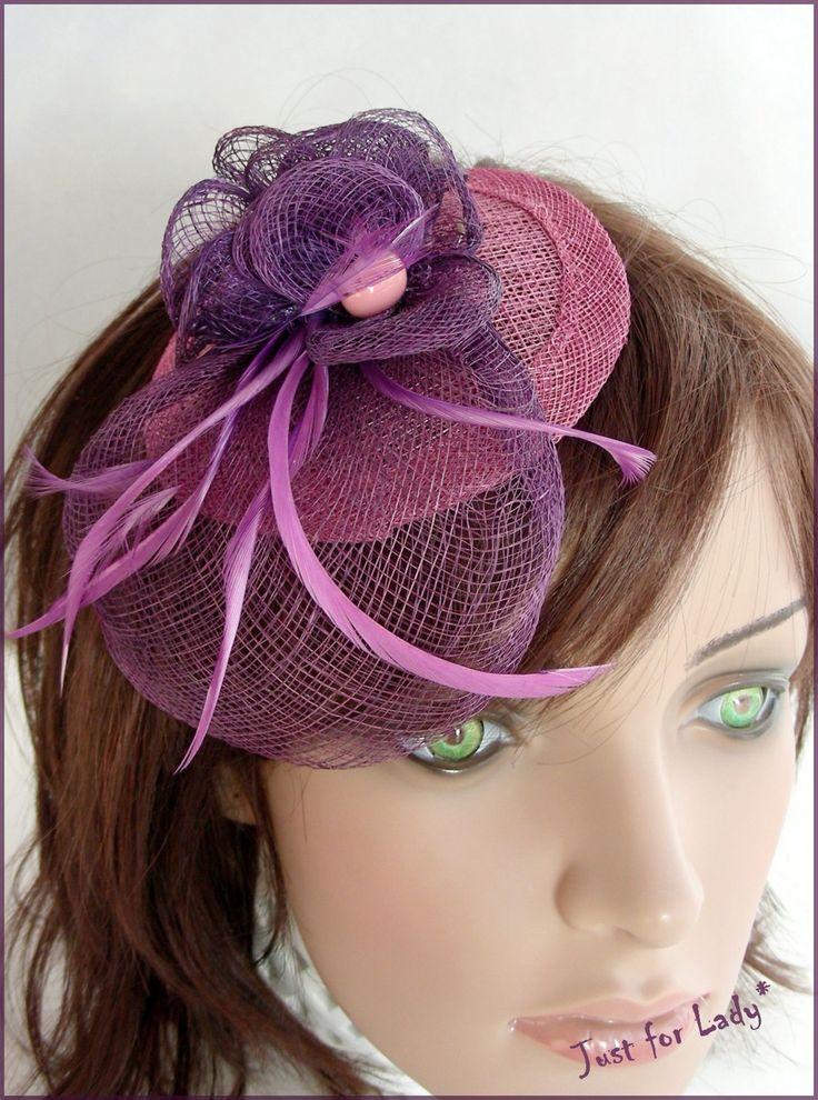 Bibi - Chapeau -- Rose/Violet - Sisal et plumes - Mariages, Cérémonies, Cocktails... : Chapeau, bonnet par ladyplazza
