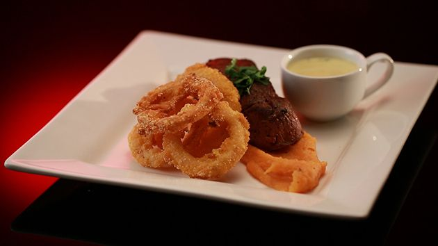 Fillet Steak with Sweet Potato Purée, Polenta Crusted Onion Rings and Blue Cheese