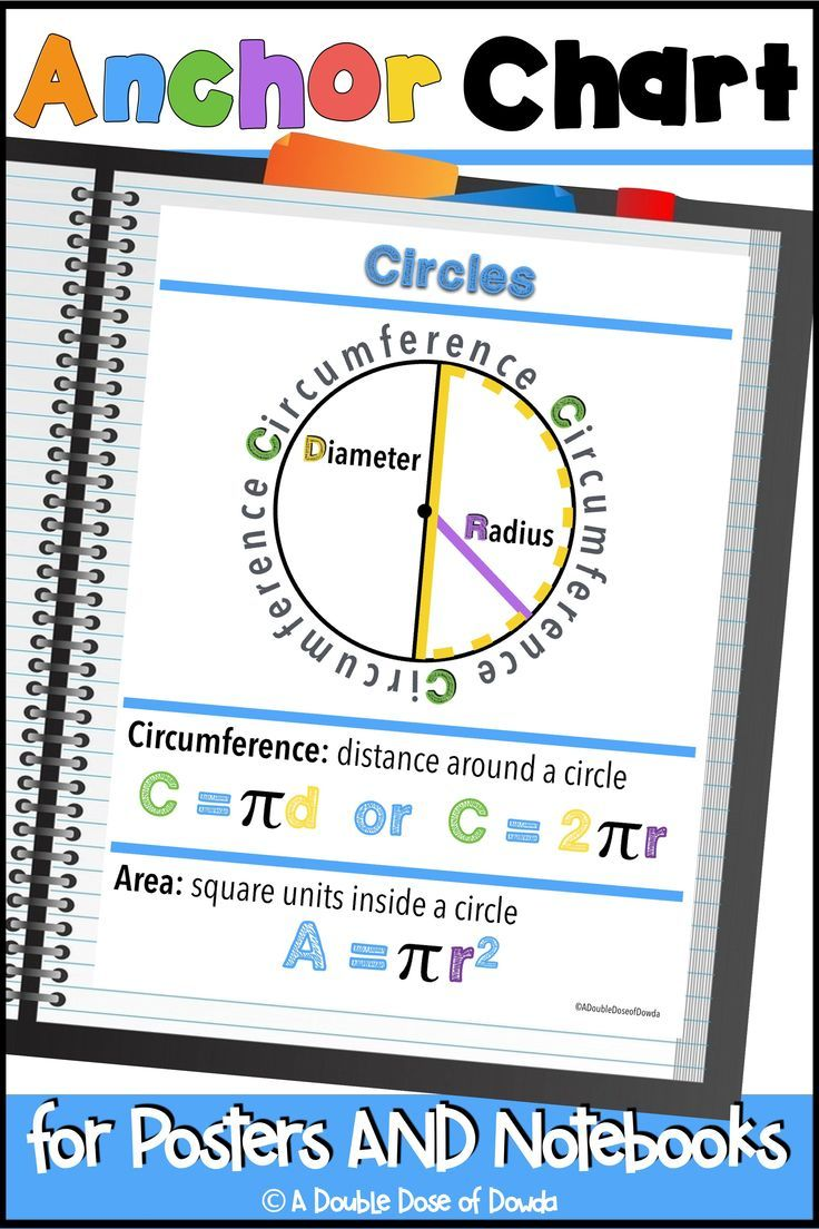 Circles Anchor Chart For Interactive Notebooks And Posters Anchor Charts Circle Math Math Interactive Notebook Circle graphs worksheets grade