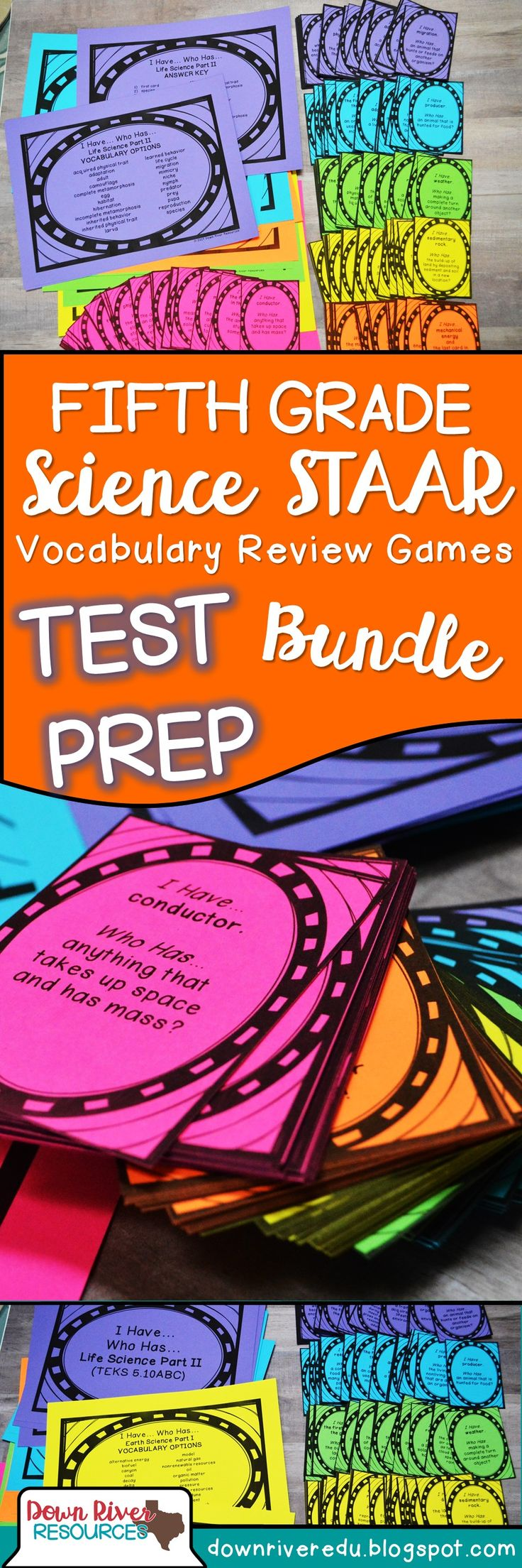 """Texas Fifth Grade Students practice for the Science STAAR in a fun way with these """"I Have...Who Has?"""" Games. Students practice matter & energy, force, motion & energy, earth science, and life science."""