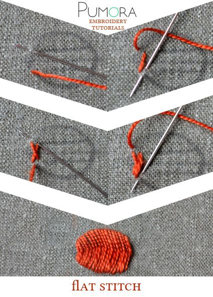 Pumora's embroidery stitch-lexicon: the flat stitch