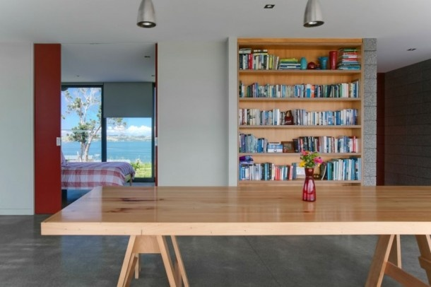 Minimalist Bourke House Designs from Pacific Environments Architects about bookcase view