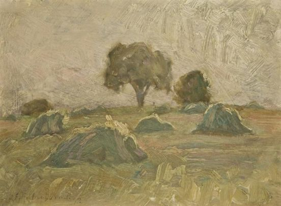 """Evening Harvest,"" James Edward Hervey MacDonald, 1913, oil, 6 x 8"", Art Museum, University of Toronto."