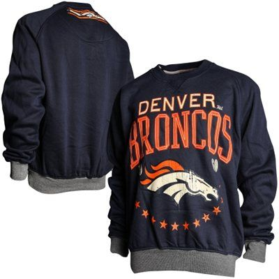 Denver Broncos Big Time Crewneck Sweatshirt - Navy Blue