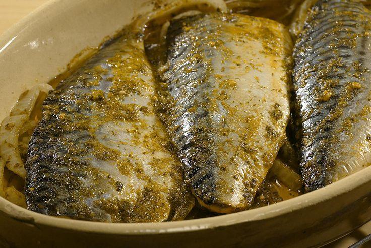 Baked mackerel in charmoula