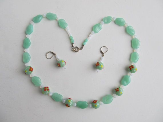 Set of Necklace and Earrings. Mint Green Glass Beads and White