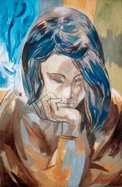 Ragazza pensierosa con sigaretta (1986) Andrea Martinelli