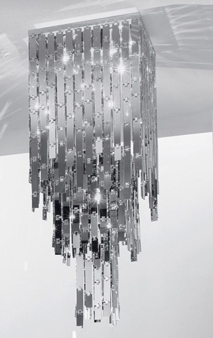Glitter Ceiling Lamp 48. Lamp collection with chains of mirrored glass elements. Polished steel frame. Made in Italy.