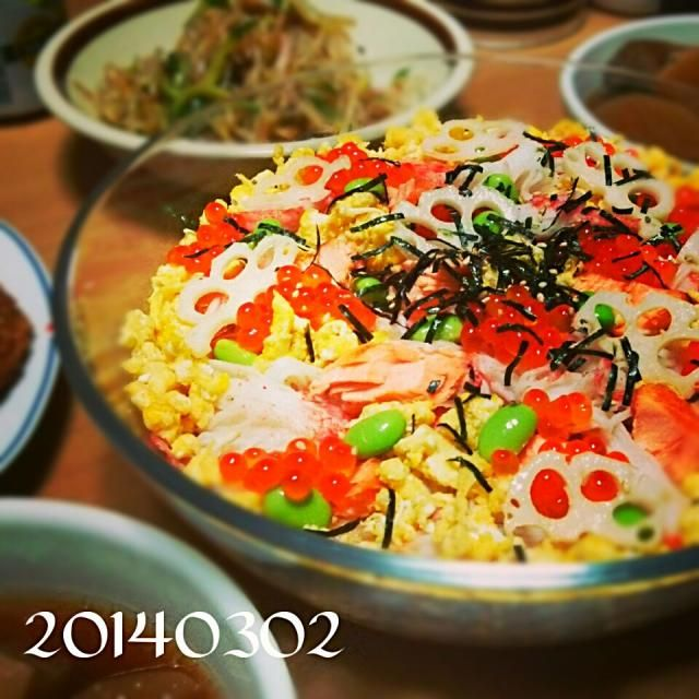 この日の夕飯 ちらし寿司、中華サラダ、ぶり大根、コロッケ - 30件のもぐもぐ - ❀2014桃の節句 ちらし寿司❀ by chokoroom