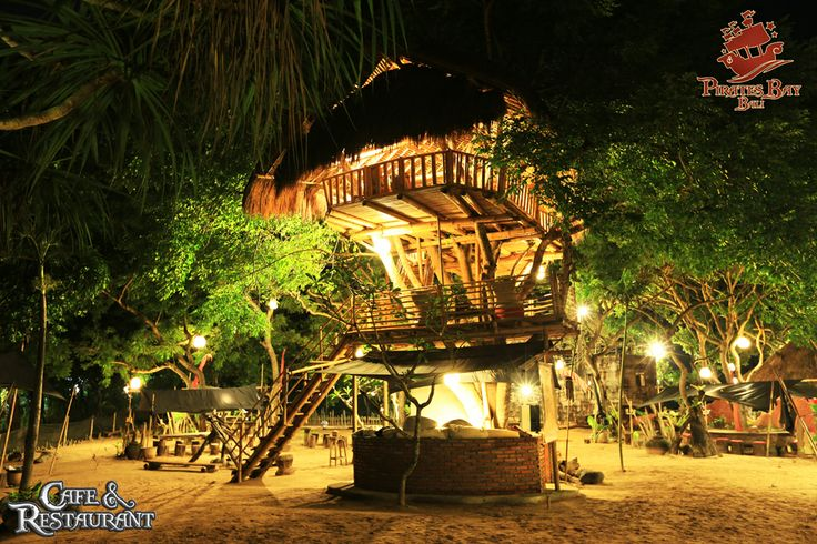 Light up your night at our tree house. Only at Pirates Bay Bali