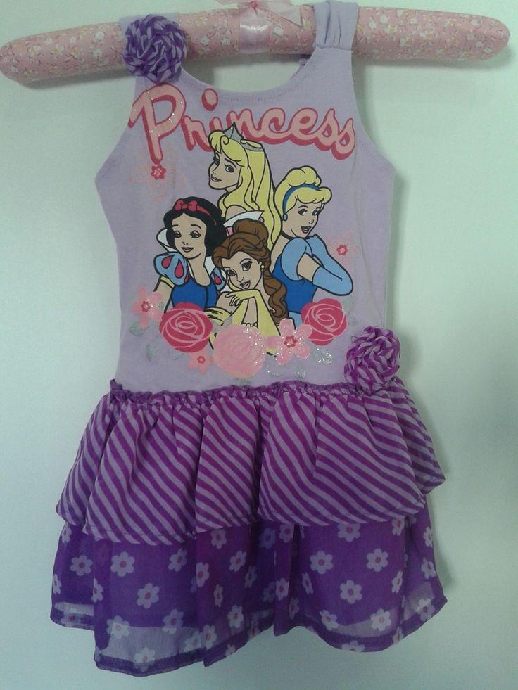 Vestido Infantil Princess Manga Cavada. Pronta Entrega