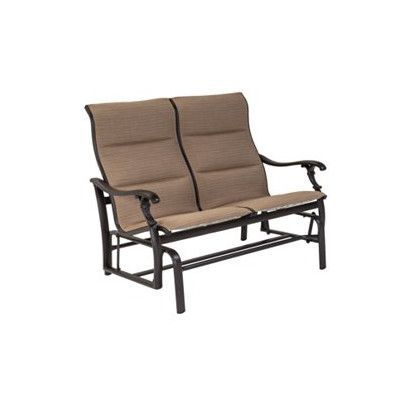 Tropitone Ravello Padded Sling Double Glider Chair Finish: Parchment, Fabric: Sparkling Water