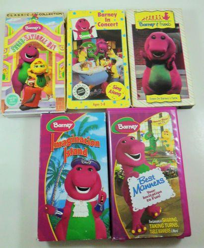 Barney Dinosaur Vhs Tapes Children Movies Lot Of 5 Farm