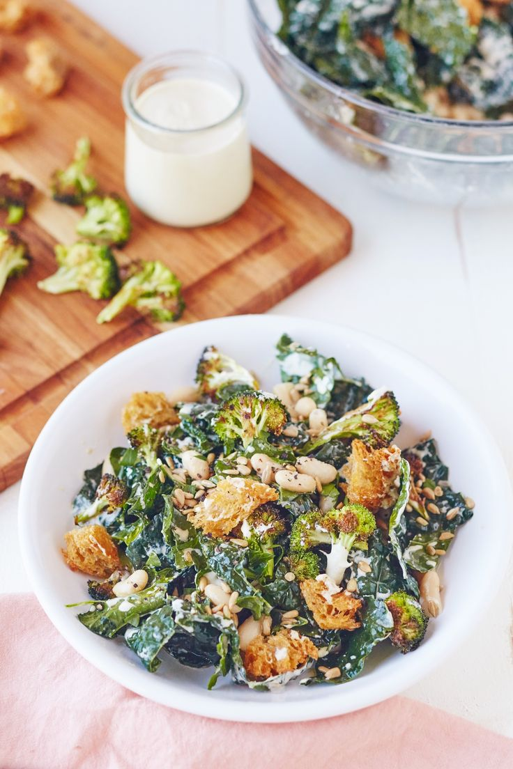 Recipe: Broccoli and Kale Caesar Salad — Quick and Easy Vegetarian Dinners #recipes #food #kitchen