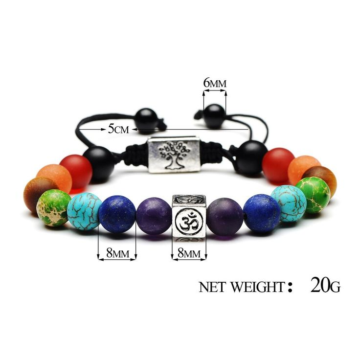7 chakra tree of life charm bracelets multicolor beads stones weave rope bracele…   – Products