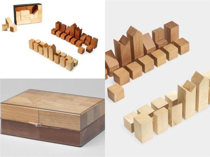 Деревянные шахматы-пазлы от Lanier Graham