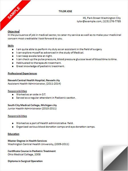 Health Services Administrator Sample Resume Healthcare