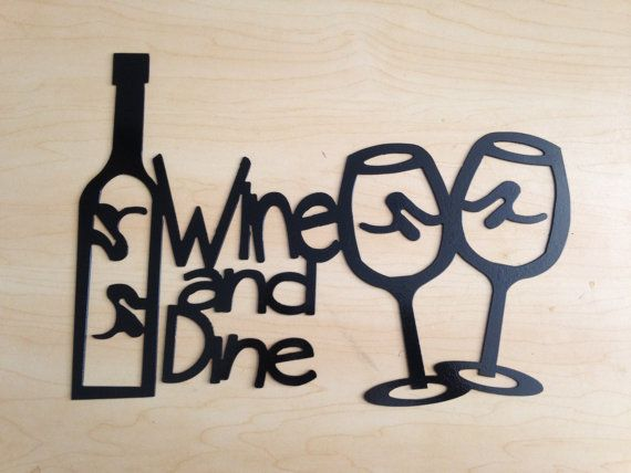 Metal wall art wine and dine by haasmetaldesigns on etsy for Wine and dine wall art